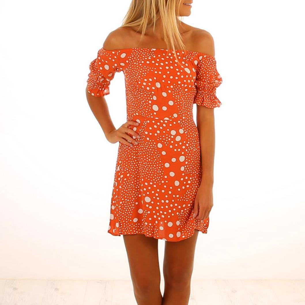 Amazon.com  Hemlock Off Shoulder Dress Women Summer Hawaii Beach Orange Sun  Dress Short Mini Dress (M a68b0cd2b