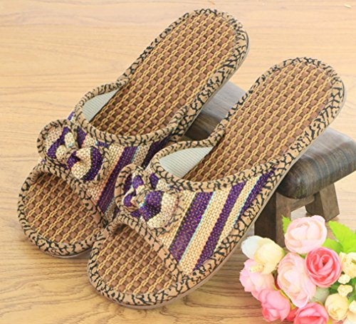 Cattior Womens Bow Flax Summer Slippers Outdoor Slippers Purple jBH1Kl
