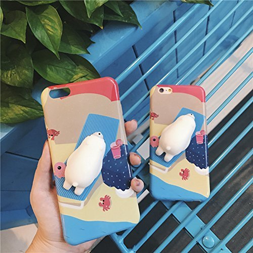 AYAOL 3D Squishy Squeeze Slow Rising Polar Bear Seal Soft TPU Case for iPhone 6&6s