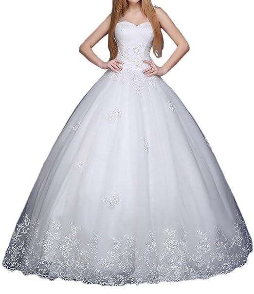 Gorgeous Novia suelo Longitud princesa boda vestidos de novia vestido de novia bordado blanco blanco 20