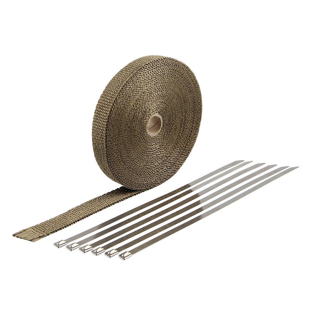 HM&FC Titanium Exhaust Wrap Fiberglass Heat Wrap 50 Feet (L) 1 Inch(W)