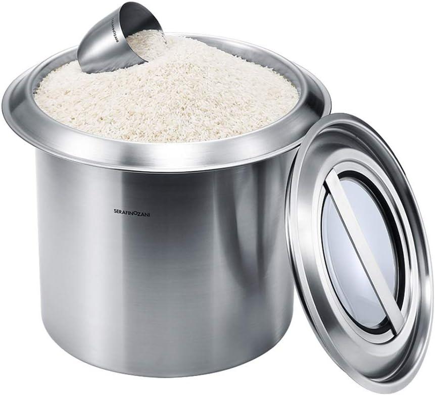 米バケツステンレス家庭用米収納箱防虫防湿米箱密封米箱10kg 保存容器 (Color : Silver, Size : 26*26CM/10*10inch)