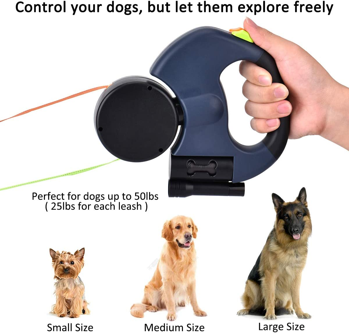 3M Flexible Retractable Dog Lead with Torch and Bin Bag Dispenser Nylon Queta Double Dog Leads ABS
