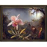 "Martin Johnson Heade Cattleya Orchid and Three Brazilian Hummingbirds - 21.1"" x 28.1"" Framed Premium Canvas Print"