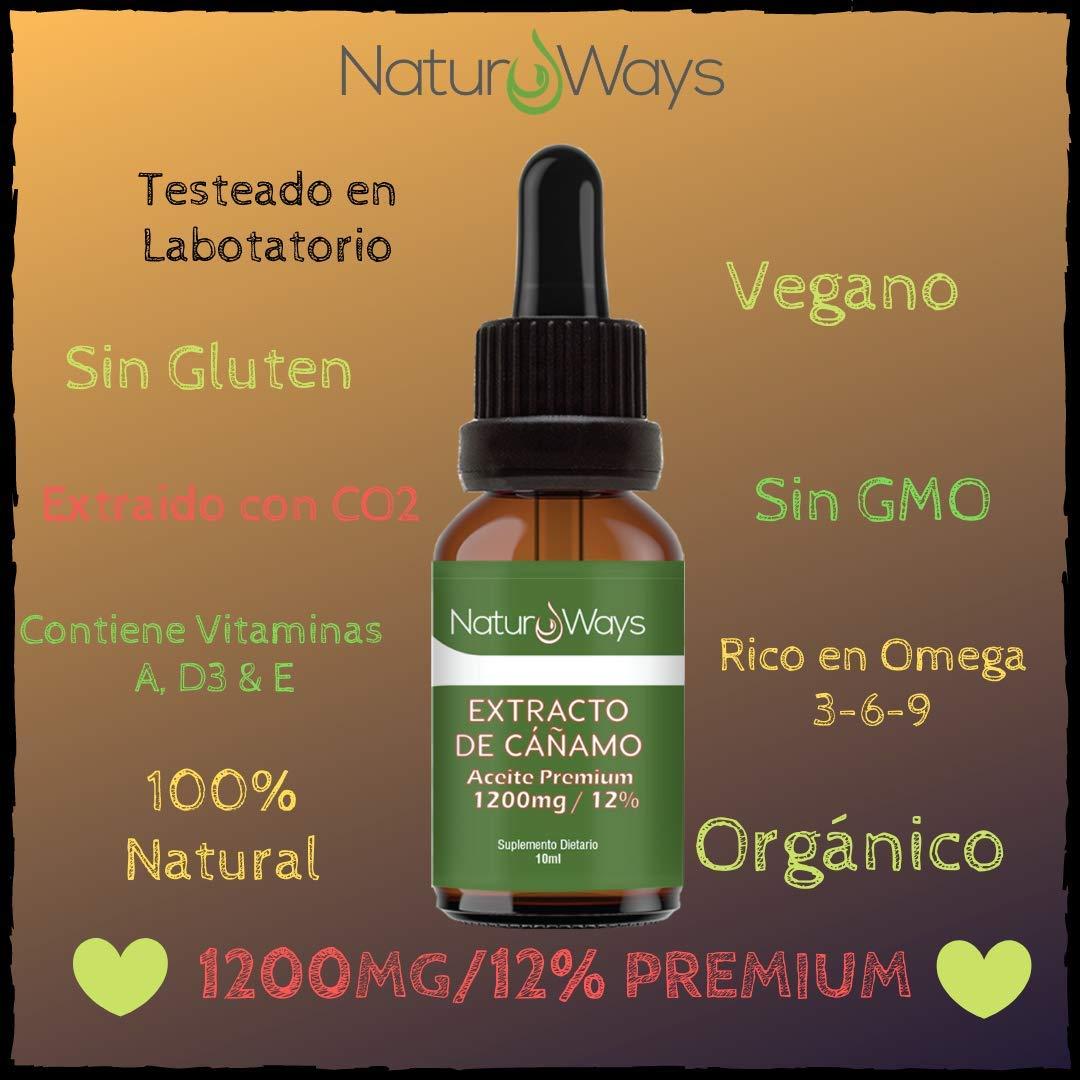 Gotas de Extracto de Cáñamo Orgánico 1200Mg (12%) | Alivia el estrés, dolor y ansiedad | 10ml Vegano & Vegetariano | Espectro Completo | Extraído con ...