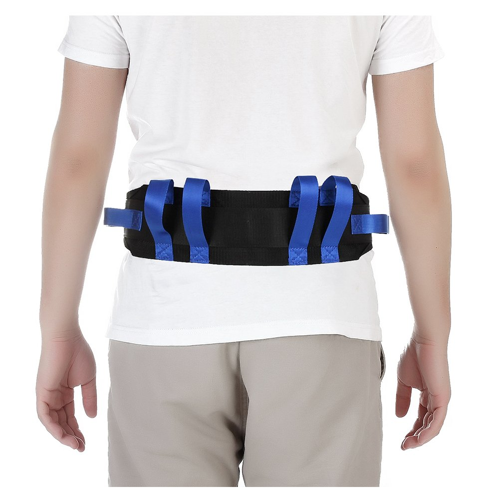 Transfer Gait Belt Patient Walking Safety Lift Sling Medical Slide Board Wheelchair & Bed Transport Physical Therapy Nursing Assistant Gate Belts for Seniors, Bariatric, Elderly (Blue)