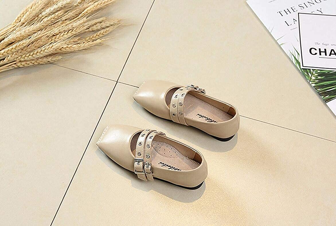 Girls Dress Shoes Cute Mary Jane Shoes Casual Shoes Walking Shoes Beige 36//4 M US Little Kid