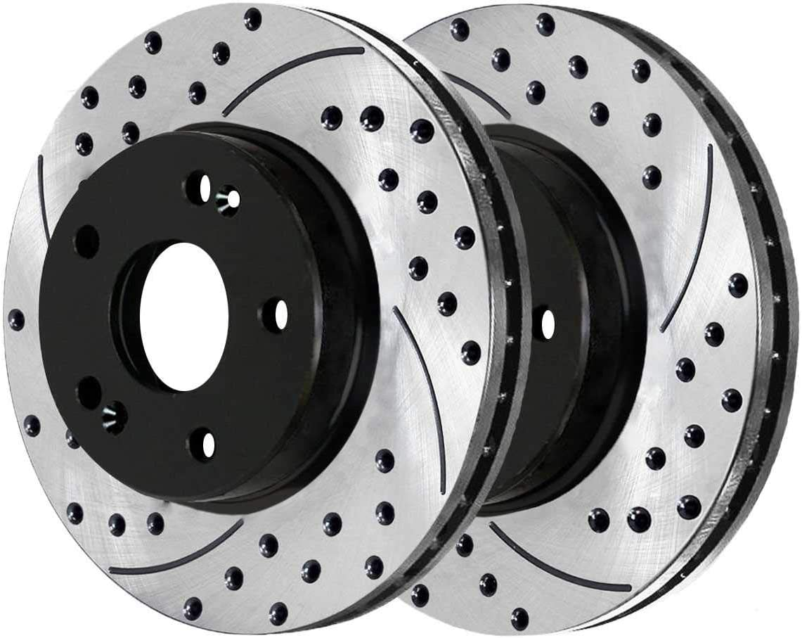 AutoShack PR41429LR Pair of 2 Front Driver and Passenger Side Drilled and Slotted Disc Brake Rotors Replacement for 2006-2014 2015 2016 Hyundai Sonata 2010-2014 2016-2017 Kia Forte 2011-2016 Optima