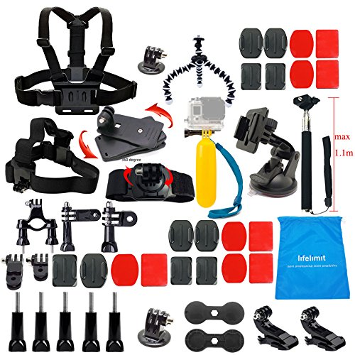Lifelimit Accessories Starter Kit for Gopro Hero 6/fusion/5/Session/4/3/2/HD/HERO+ (Wi-Fi Enabled) Silver Cameras SJ4000 /5000/ 6000 /AKASO/ APEMAN/ DBPOWER/ And Sony Sports DV and More Silver Fusion Jackets