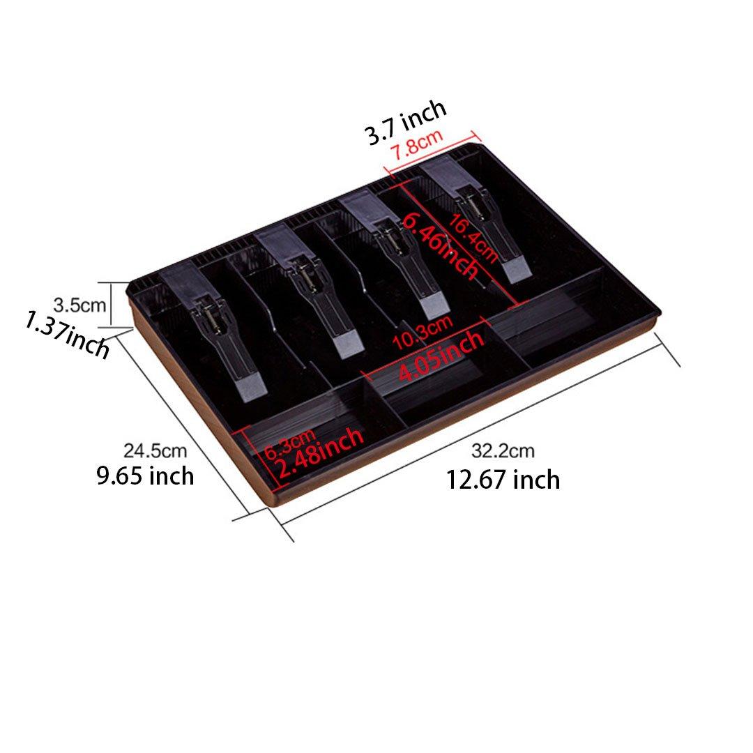 Cassetto cassa per registratore di cassa, vassoio di plastica nero, supermercato, centro commerciale, accessori per registratori di cassa (12.67x9.65x1.37 inch) Leeshang