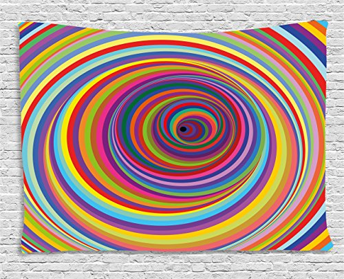 Ambesonne Rainbow Tapestry by, Hypnotic Rainbow Colored Vortex Hypnotic Effect Optical Illusion Psychedelic Print, Wall Hanging for Bedroom Living Room Dorm, 80 W X 60 L Inches, Multicolor ()