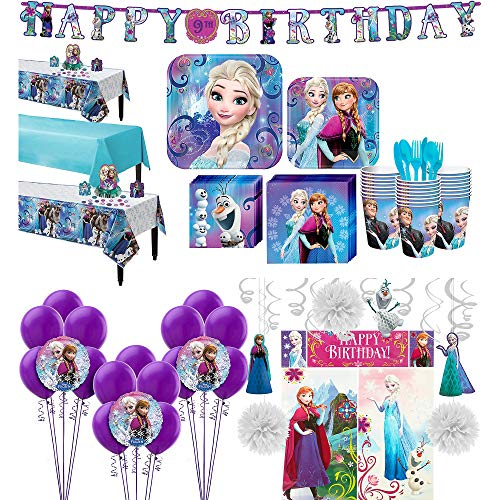 Party City Frozen Ultimate Tableware Supplies for 24 Guests, Include Plates, Napkins, Banner, Balloons, and -