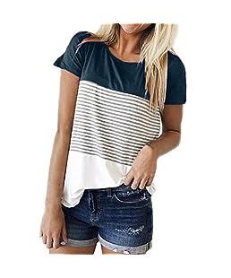 Chic Casual T-Shirt Femme, Femmes été Mode Casual Manches Courtes O-Cou Triple Couleur Bloc Rayé T-Shirt Occasionnels Confortables Manches Courtes Tops Ba Zha Hei (M, Marine)