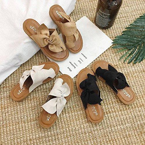 Estudiantes Pantuflas el Pie Dedo Plana con Sandalias de Mujer Exterior Y Partido Usan Plana Todo 35 Arco Negro Zapatos Ocio Del Suaves WO8x5Bqgww