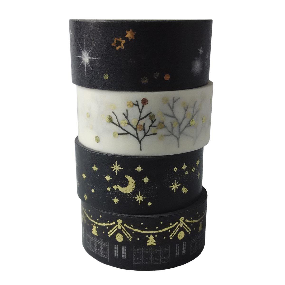 AUFODARA Washi Tape 4pcs Set Oro tama/ño de cada rollo de 15 mm x 5 m