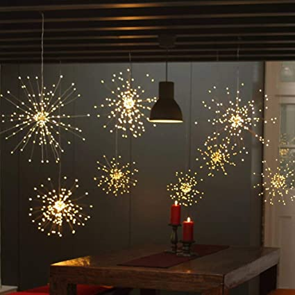 Twinkle Star 120 Led Firework String Lights Battery Operated Hanging Starburst Light With Remote Control Starry Fairy String Lights Decor For Indoor