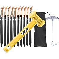 TBoonor Haringen tentharingen, 10 stuks, tentharingen, pegs en camping, houten hamer, hamer en stalen tentharing…