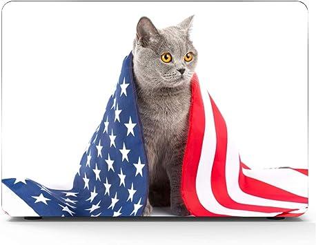 Macbook Pro13 Inch Estuche Lindo Gato Gracioso con Bandera Plástico Carcasa Dura Compatible Mac Air 11