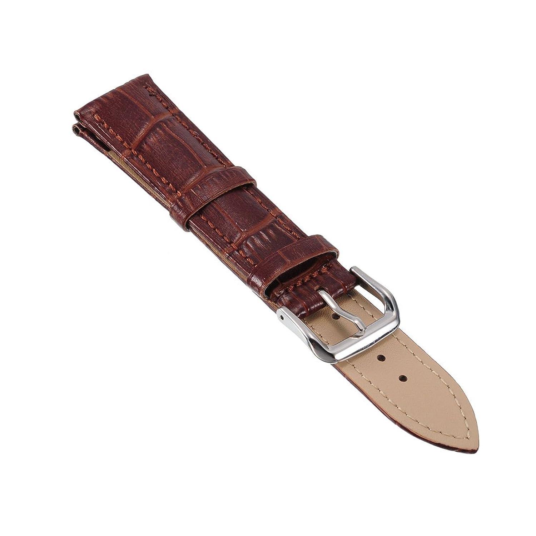 時計バンド 革 ストラップ 交換 腕時計 クロコダイル型押し 時計ベルト ダークブラウン 12mm  B01E6UXC7M