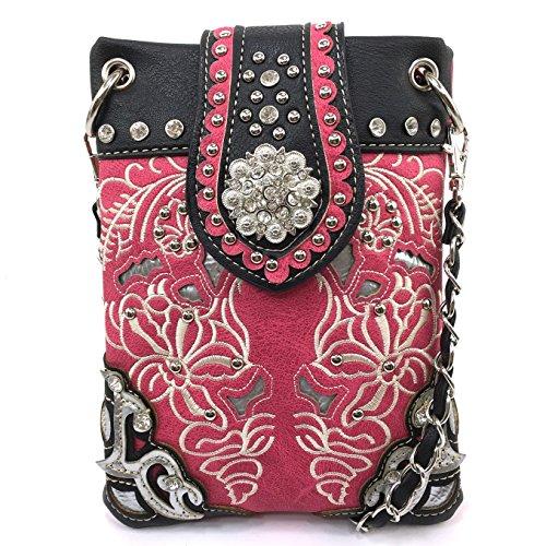 Justin West Floral Embroidery Tooled Laser Cut Rhinestone Studded Concho Buckle CrossBody Mini Handbag Phone Messenger Purse