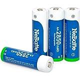 NeBatte 4x AA 2850mAh 1.2V Ni-MH Pile Ricaricabili stilo batterie 4 pezzi alta capacità Bassa autoscarica 1200 cicli con custodia