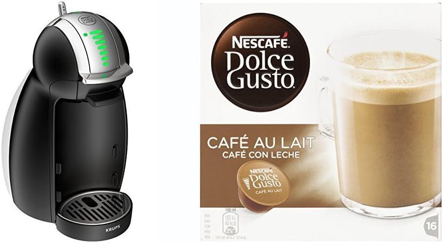 Pack Krups Dolce Gusto Genio 2 KP1608 - Cafetera de cápsulas, 15 bares de presión, color negro + 3 packs de café Dolce Gusto Con Leche: Amazon.es: Hogar