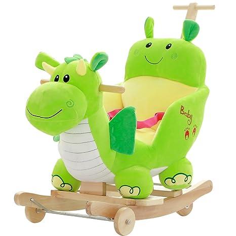 ZCRFY Caballitos De Madera Caballito Balancin 2 En 1 De Doble Uso Green Dino Plush con Ruedas ...