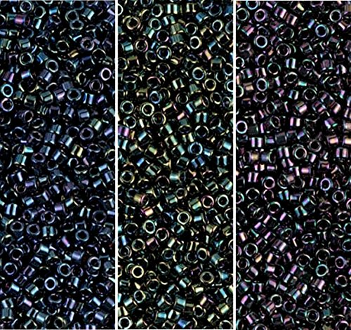 (Miyuki Delica Seed Beads Bundle: Size 11/0, Blue Iris DB002, Green Iris DB003, Purple Iris DB004 - 3 Tubes of 7.2 Grams ea)