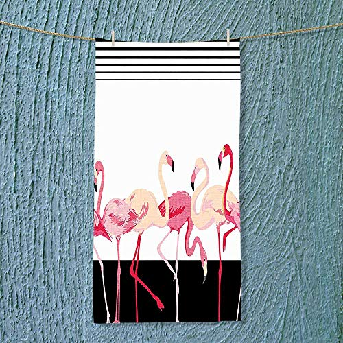 SOCOMIMI Quick Dry Towel Large Pink Flamingo Birds Background with Stripes Love Romance Icons Shabby Chic Graphic Black Fluffy, and Absorbent, Premium ()