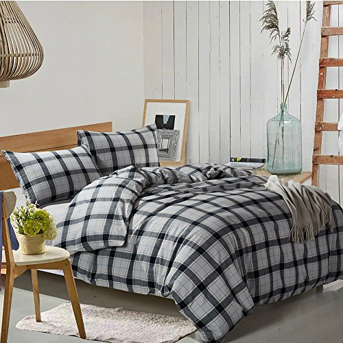 HIGHBUY Grey Plaid Duvet Cover Queen Boys Men Brushed Cotton Full Bedding Sets with Zipper Closure Reversible Geometric Checkered Bedding Cover Collection for Kids 100% Yarn Dyed Cotton Lightweight