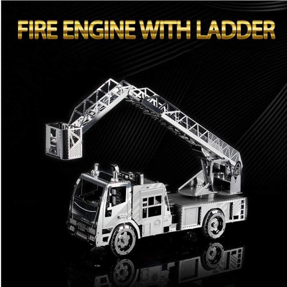 Escalera tridimensional 3D camión de bomberos de metal modelo ensamblado juguete DIY Laser Cut Jigsaw Toys Silver + herramienta A + B Un tamaño: Amazon.es: Hogar