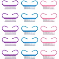 Solustre 21Pcs Nail Cleaning Brushes Handle Grip Nail Brush for Foot Hand (Pink Purple Blue for Each 7Pcs)