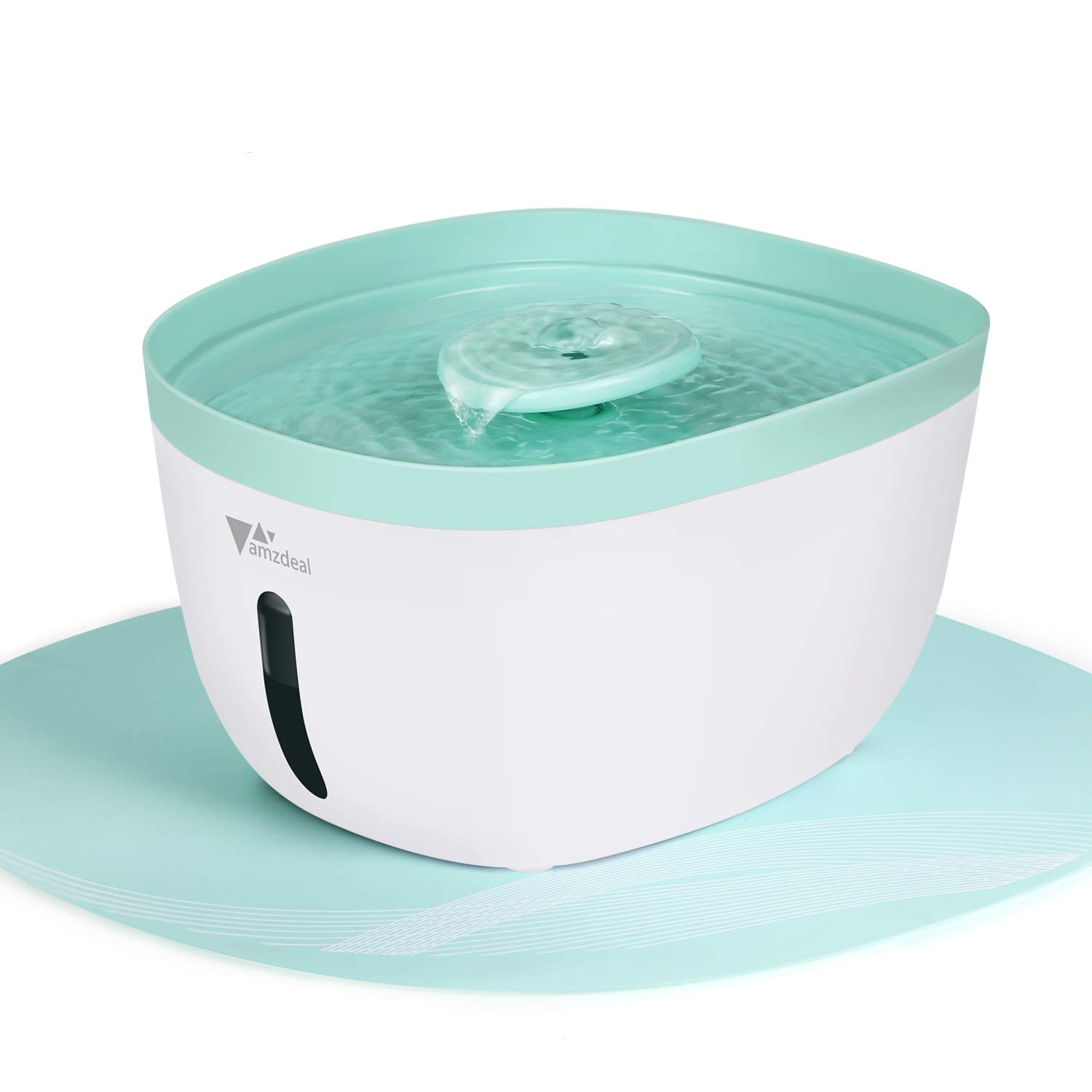 amzdeal Pet Fountain Cat Water Fountain Automatic Water Bowl 2.2L Cat Water Dispenser with Filter, Led Light, Quiet Pump, Silicone Mat, Pet Drinking Fountain for Cats and Dogs, BPA Free