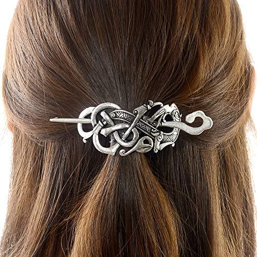 Viking Celtic Hair Clips Hairpins- Viking Hair Accessories Celtic Knot Hair Pins Antique Silver Hair Sticks Irish Hair Decor Accessories for Long Hair Jewelry Braids Hair Slide Clip With Stick (N-A1)