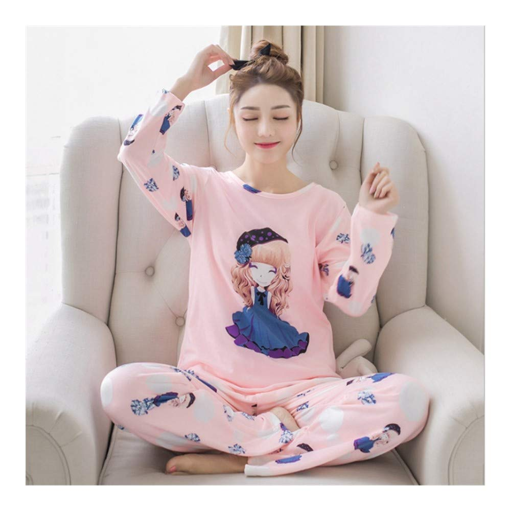 HAOLIEQUAN Womens Pigiama Imposta Primavera Autunno Cartoon Donna Lungo 2 Pezzi Sleepwear Suit Home Donne Regalo Sleepwear Femminile