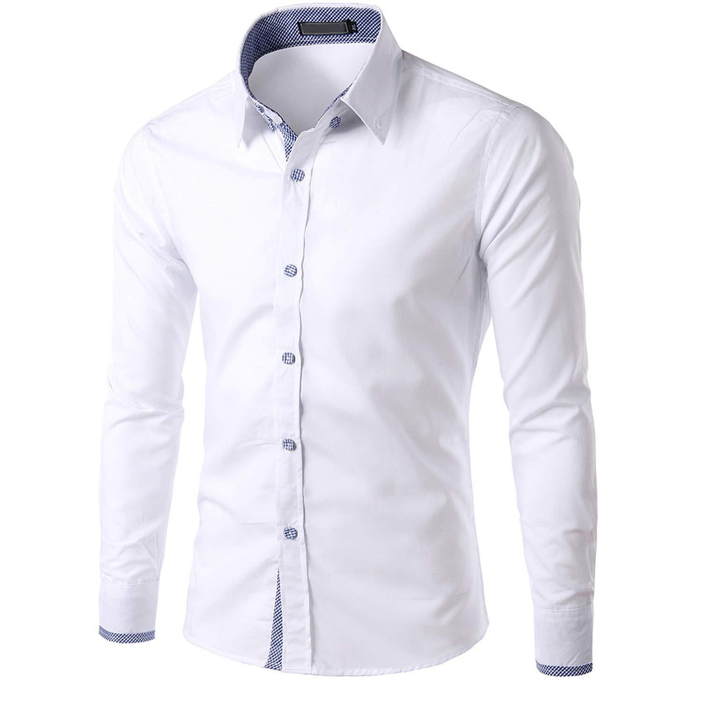 EspTmall Mens New Recreational Button Long Sleeve Shirt Fashion Pure Long Sleeve Top Light Blue XXL United States