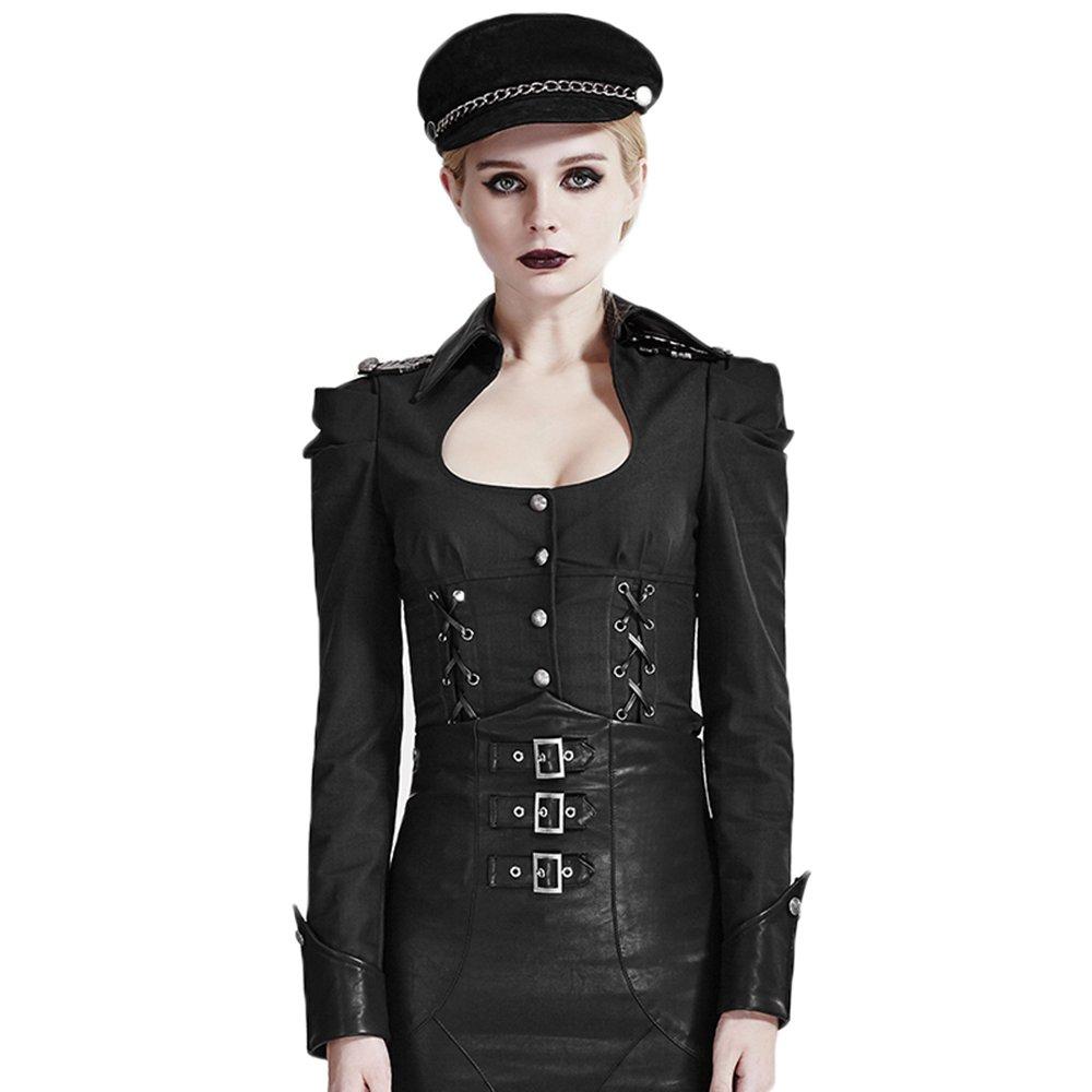 Black Punk Women Cosplay Uniform Shirts Gothic Black Sexy UNeck Long Sleeve Casual Blouses