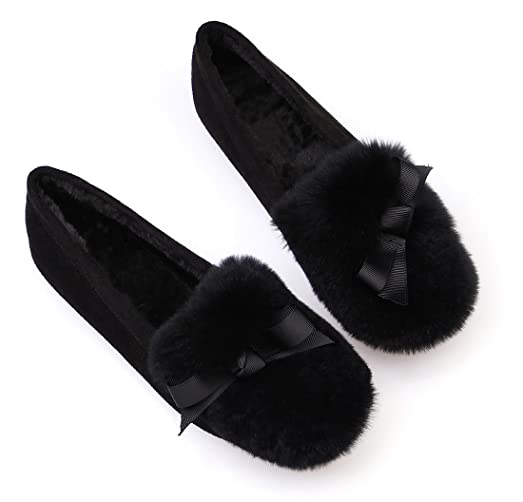 Women Soft Sole Moccasin Slippers Round Toe Bowknot Decor Flat Loafers Shoes