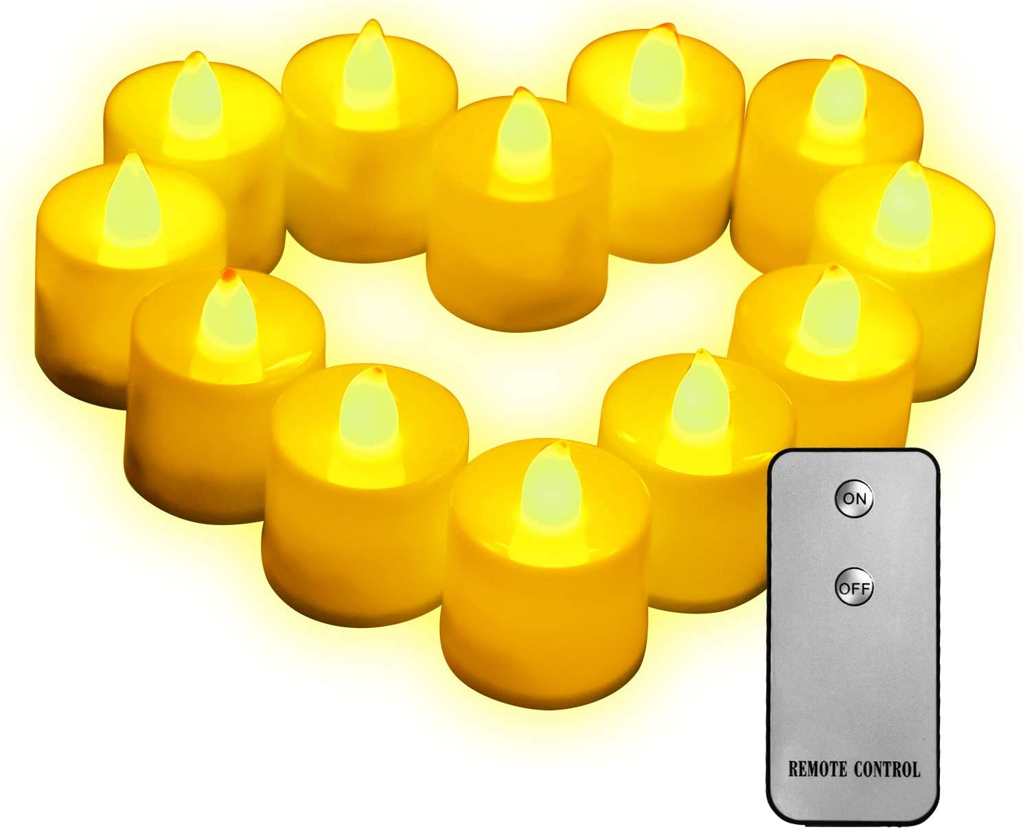 Remote Control Realistic Bright Flickering LED Candles,Tea Lights Flickering Pack of 12,Flameless Flickering Bright Led Tealight Candles for Home Decor and Seasonal Celebration, Pack of 12