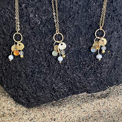 Shimmy Hawaii treasure charm choker, gold chain with 22K gold vermeil coins, gemstones, and seed pearls