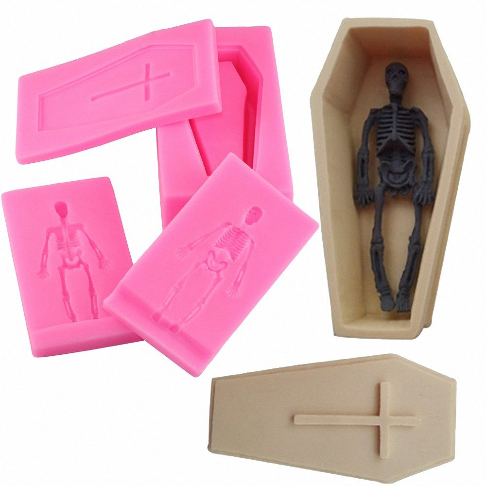 MoldFun Small Size 3D Coffin with Cross and Human Skeleton Skull Silicone Mold for Fondant, Gum Paste, Cake Decorating, Chocolate, Candy, Soap, Bath Bomb, Resin