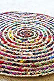 Doormat, Kitchen or Bathroom Rug, Round Jute and Cotton Bright Accent Rug
