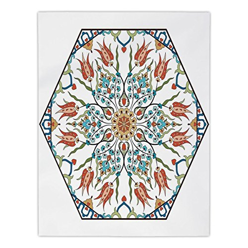 Islamic Antique (Polyester Rectangular Tablecloth,Antique,Ottoman Turkish Floral Pattern Tulips Medieval Baroque Effect on Dated Islamic Art,Multicolor,Dining Room Kitchen Picnic Table Cloth Cover,for Outdoor Indoor)