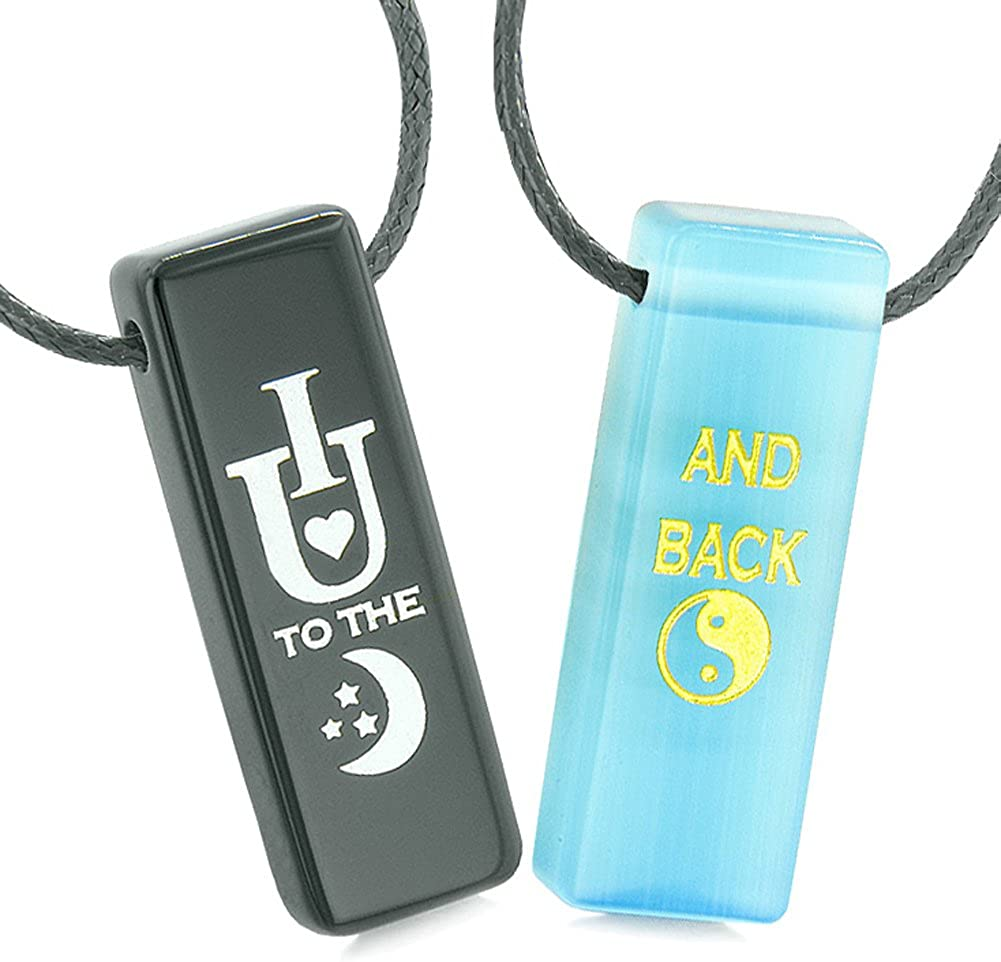 I Love You to the Moon and Back Amulets Love Couples Blue Simulated Cats Eye Black Agate Tag Necklaces