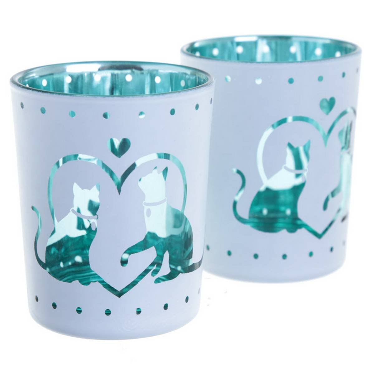 Glass Candleholder Set of 2 - Cat Design Puckator
