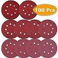 Paxcoo 100 Pcs 5 inch 8 Holes Sanding Discs 40/60/ 80/100/ 120/180/ 240/320/ 400/800 Grit Hook and Loop Sandpaper for Random Orbital Sander