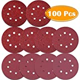 Paxcoo 100 Pcs 5 inch 8 Holes Sanding Discs 40/60/ 80/100/ 120/180/ 240/320/ 400/800 Grit Hook and Loop Sandpaper for Random Orbital Sander