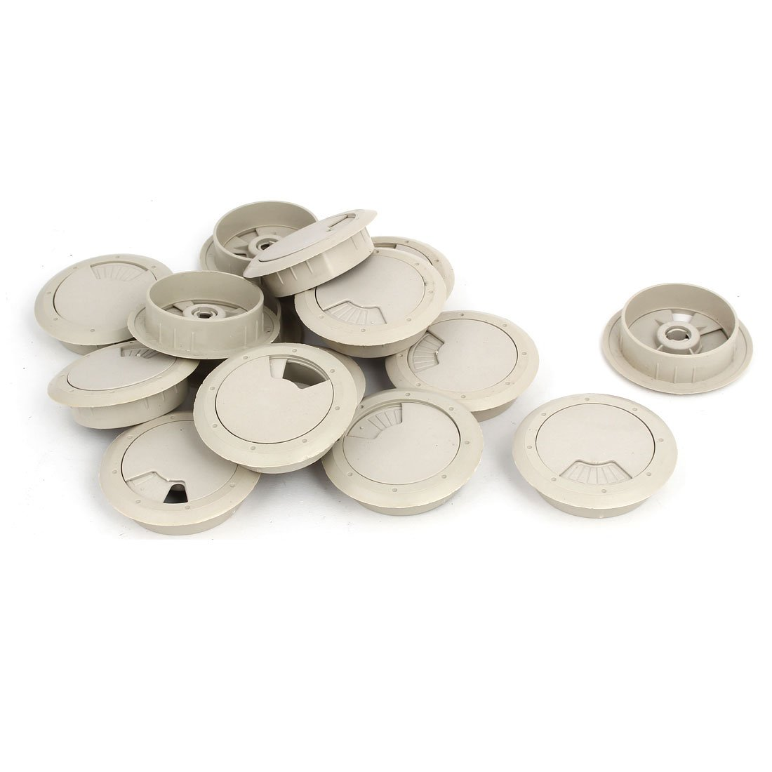 uxcell Computer Desk 53mm Dia Plastic Rotatable Grommet Cable Hole Cover Gray 15pcs