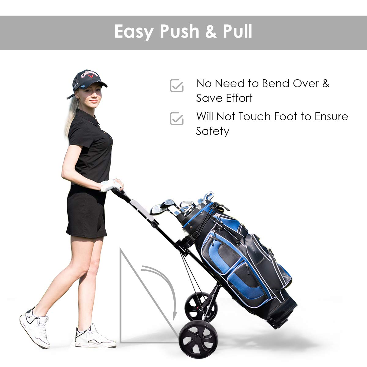COSTWAY Golf Cart Foldable 2 Wheel Push Pull Cart Trolley by COSTWAY (Image #8)