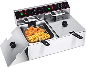 ARLIME Commercial Deep Fryer with Basket, 3400W Large Dual Tank Electric Deep Fryer with 2 x 5.8QT/5.5L Removable Stainless Steel Oil Tank and Temperature Control for Restaurant,Home,Bar,Party